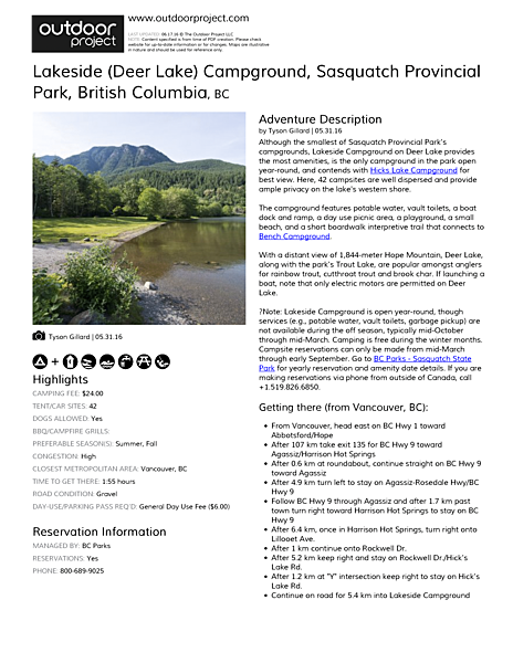 Lakeside (Deer Lake) Campground Field Guide