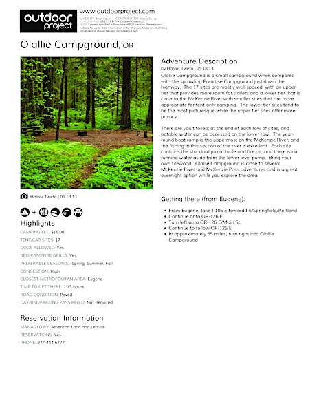 Olallie Campground Field Guide