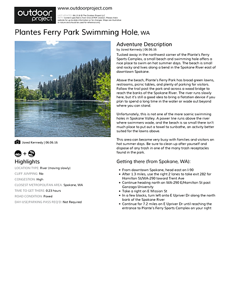 Plantes Ferry Park Swimming Hole Field Guide