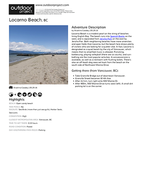Locarno Beach Field Guide