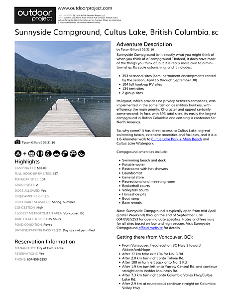Sunnyside Campground Field Guide