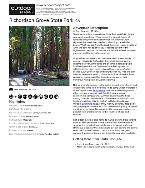 Richardson Grove State Park Field Guide