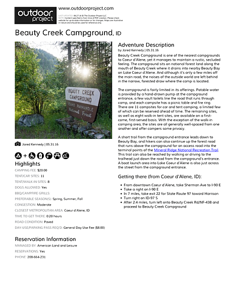 Beauty Creek Campground Field Guide