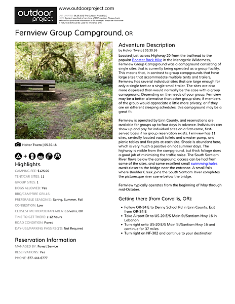 Fernview Group Campground Field Guide