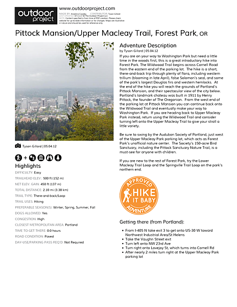 Pittock Mansion/Upper Macleay Trail Field Guide