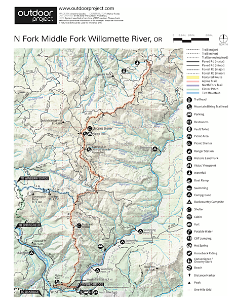 North Fork Middle Fork Willamette Swimming Hole 11 Map