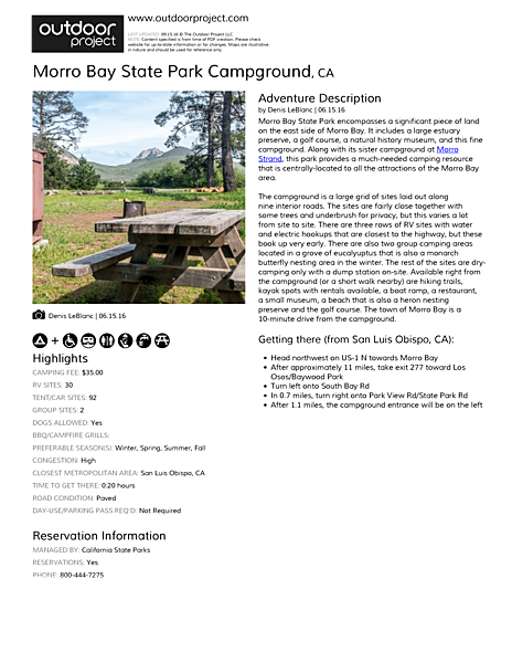 Morro Bay State Park Campground Field Guide