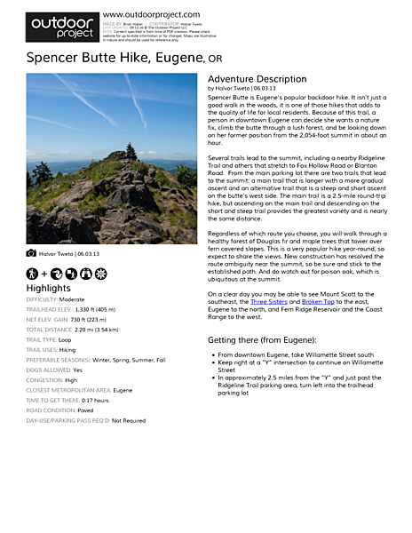 Spencer Butte Hike Field Guide