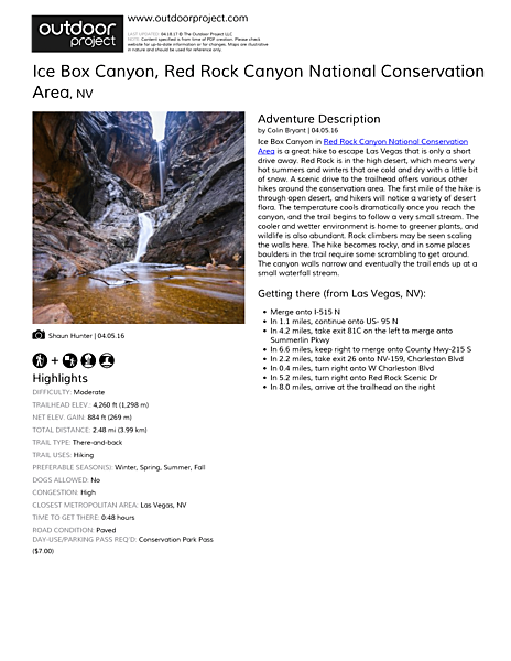 Ice Box Canyon Field Guide