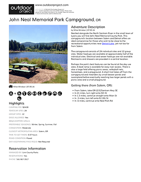 John Neal Memorial Park Campground Field Guide
