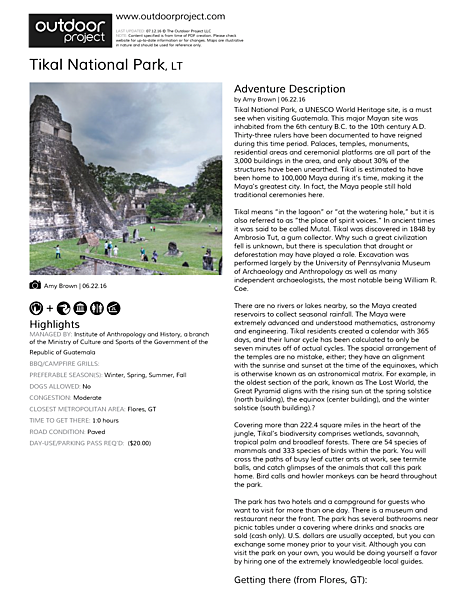 Tikal National Park Field Guide