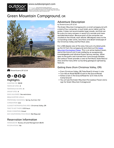 Green Mountain Campground Field Guide
