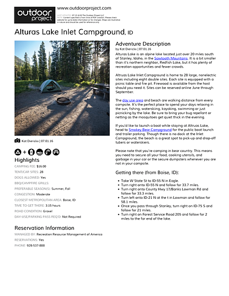 Alturas Lake Inlet Campground Field Guide