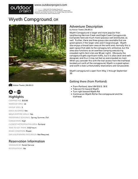 Wyeth Campground Field Guide