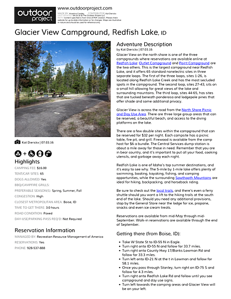 Glacier View Campground, Redfish Lake Field Guide