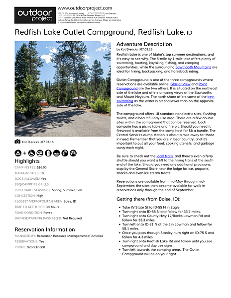 Redfish Lake Outlet Campground Field Guide