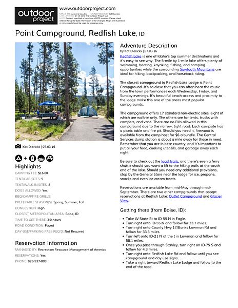 Point Campground Field Guide