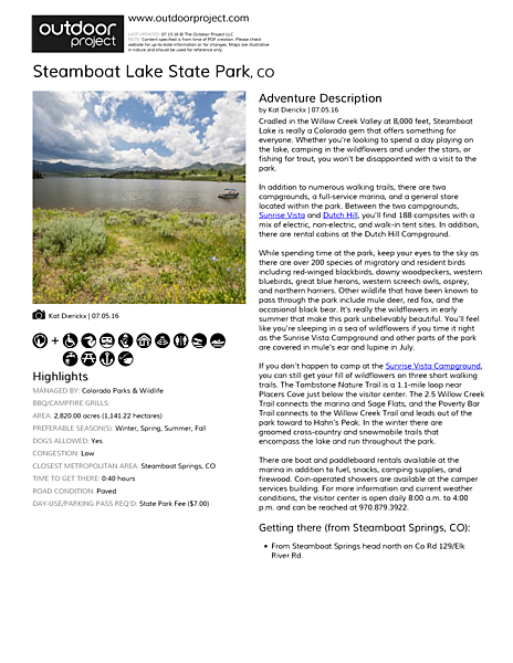 Steamboat Lake State Park Field Guide