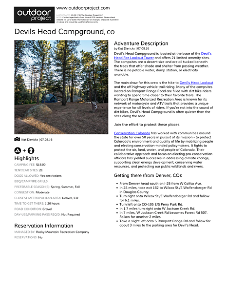 Devils Head Campground Field Guide