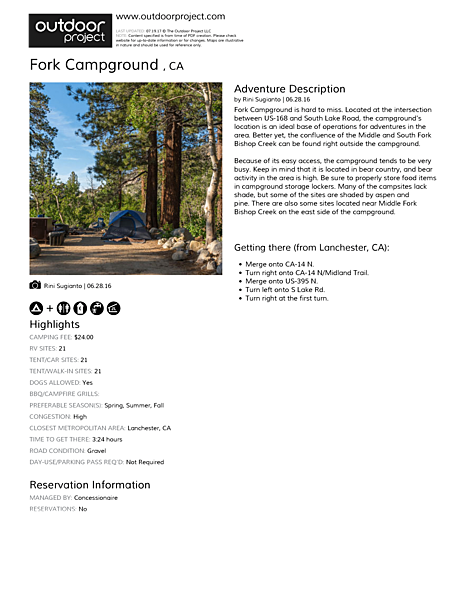 Fork Campground  Field Guide
