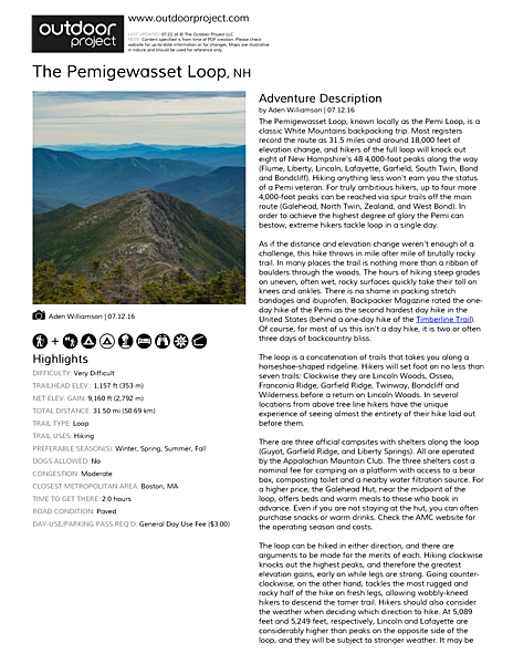 The Pemigewasset Loop Field Guide