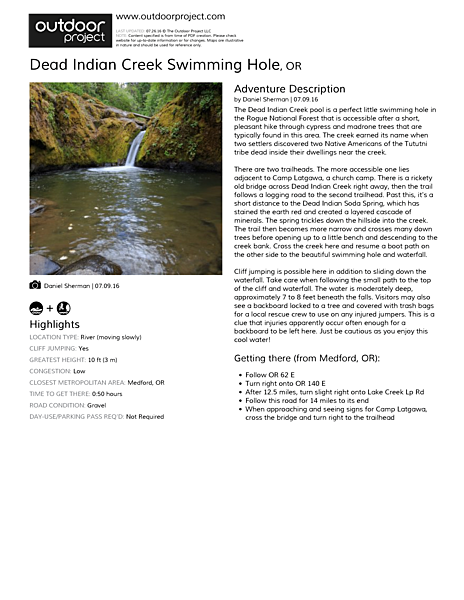 Dead Indian Creek Swimming Hole Field Guide