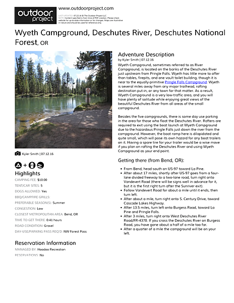Wyeth Campground, Deschutes River Field Guide