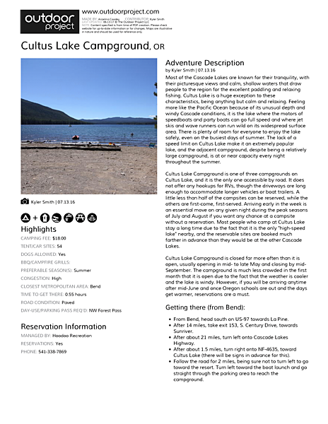 Cultus Lake Campground Field Guide