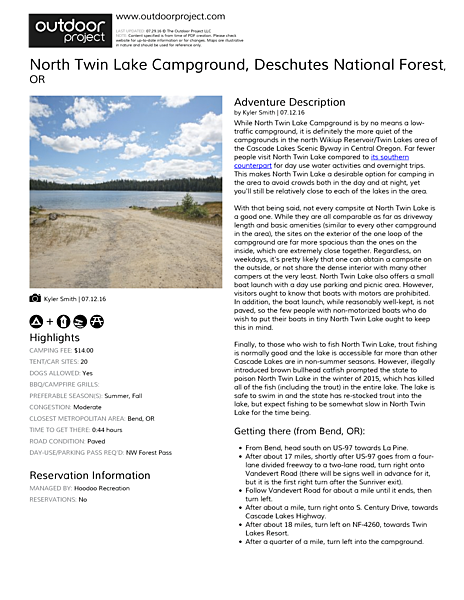 North Twin Lake Campground Field Guide