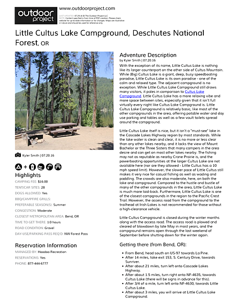 Little Cultus Lake Campground Field Guide