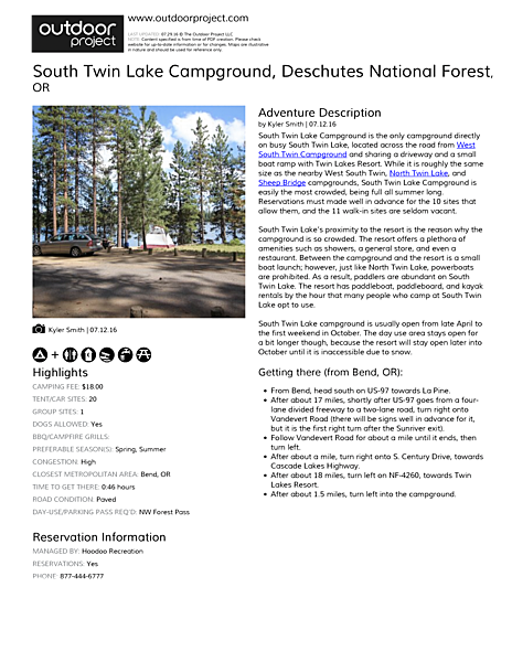South Twin Lake Campground Field Guide