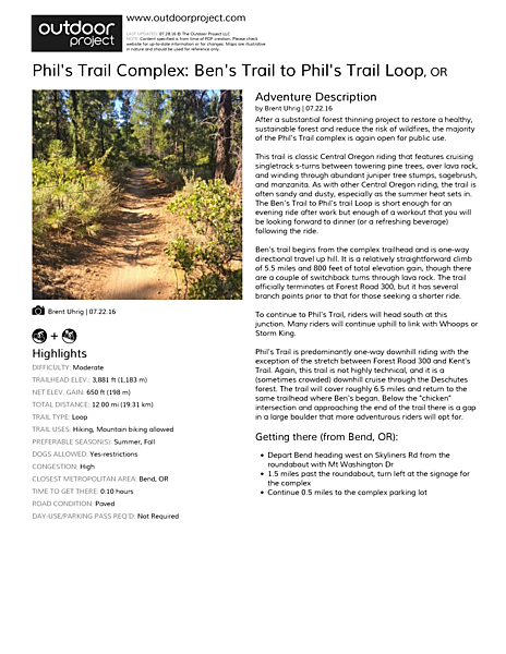 Phil's Trail Complex: Ben's Trail to Phil's Trail Loop Field Guide