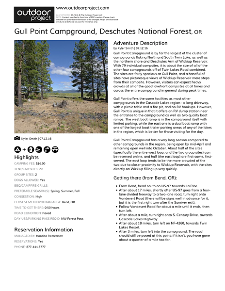 Gull Point Campground Field Guide