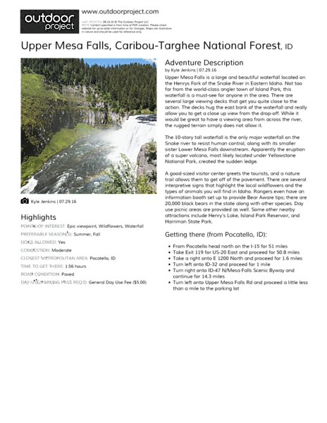 Upper Mesa Falls Field Guide