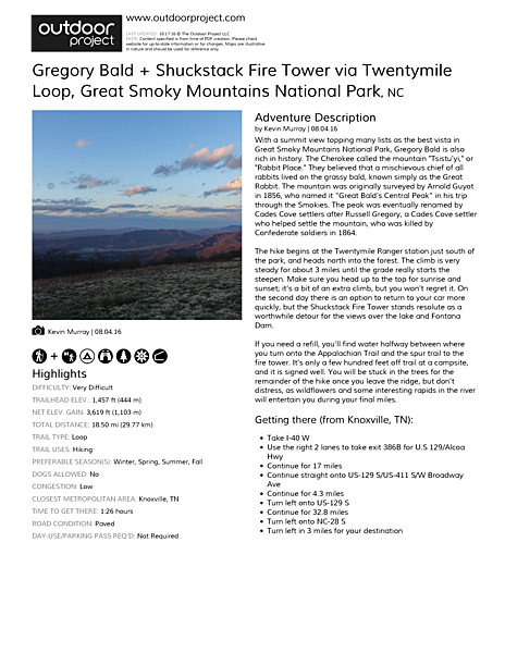 Gregory Bald + Shuckstack Fire Tower via Twentymile Loop Field Guide