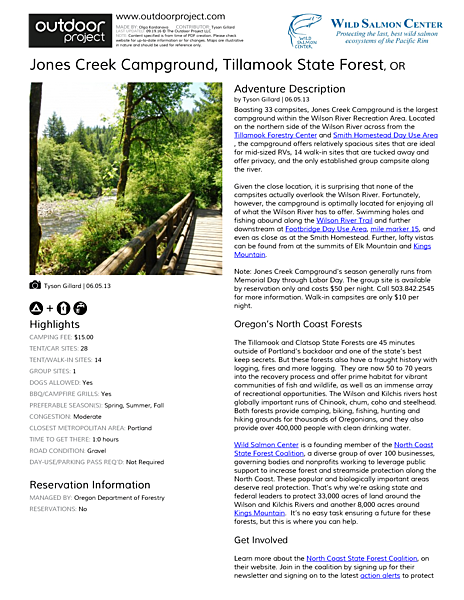 Jones Creek Campground Field Guide