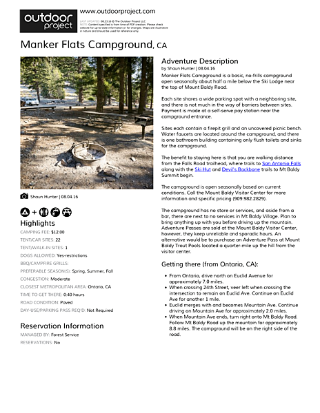 Manker Flats Campground Field Guide
