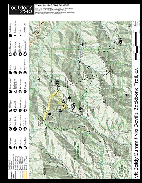 Mount Baldy Summit Via Devils Backbone Trail Hiking In California - Mt baldy map on map of us