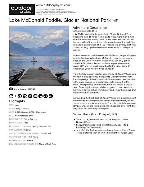 Lake McDonald Paddle Field Guide
