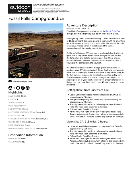 Fossil Falls Campground | Outdoor Project