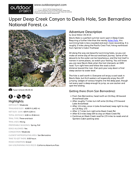 Upper Deep Creek Canyon to Devils Hole Field Guide