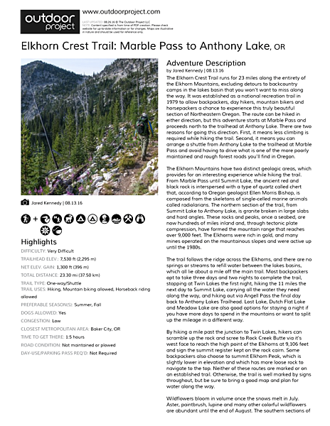 Elkhorn Crest Trail: Marble Pass to Anthony Lake Field Guide