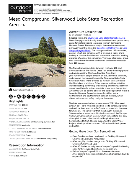 Mesa Campground Field Guide