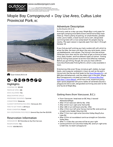 Maple Bay Campground + Day Use Area Field Guide