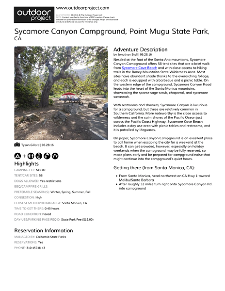 Sycamore Canyon Campground Field Guide