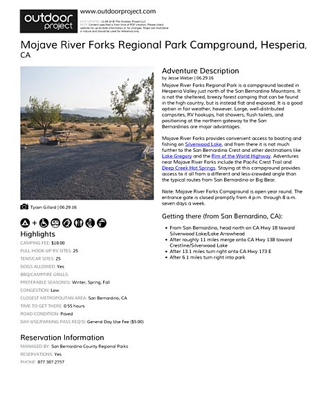 Mojave River Forks Regional Park Campground Field Guide