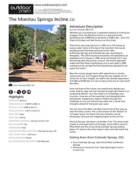The Manitou Springs Incline Field Guide