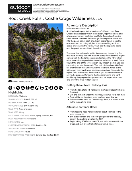 Root Creek Falls  Field Guide