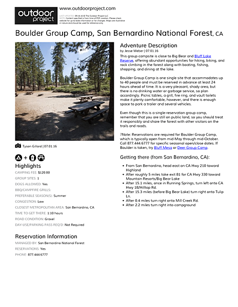 Boulder Group Camp Field Guide