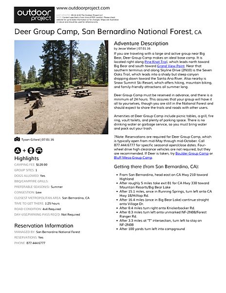 Deer Group Camp Field Guide